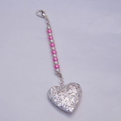 Bouquet Photo Charm - Heart Shaped Photo Locket - Beaded Style Clip On Charm